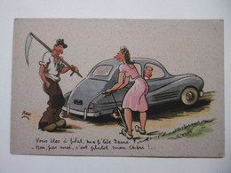 Thème Humour - Illustr. Signé XAV Femme Homme Voiture Automobile Fermier Paysan - Humour