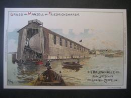 """Deutschland Deutsches Reich 1933- Flugpostkarte """"Gruss Aus Manzell Bei Friedrichshafen Mit Der Ballonhalle - Covers & Documents"""