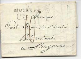 ST QUENTIN Aisne Marque Linéaire 2 ST QUENTIN 39x10 + Taxe 10  1816 .....HH - 1801-1848: Precursores XIX