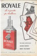 PUB 1958 Cigarettes Tabac ROYALE Jeu De Cartes - Pubblicitari