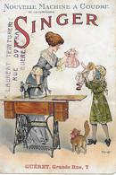 23 - GUERET - Calendrier SINDER 1913,Nouvelle Machine à Coudre Singer, Chromo Signée Herouard, JOUET POUPEE CHAT - Kleinformat : 1901-20