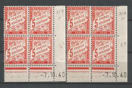 FRANCE TAXE ANNEE 1941 N°66x2 BLOCS DE 4 EX COINS DATES NEUFS* MH TB COTE 28 € REMISE-90% - 1940-1949