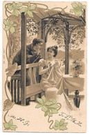 Romantic Couple, Couple Amoureux, Flowers, Blumen, Fleurs, Slightly Embossed / Before 1907 - Otros
