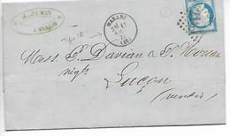 MARANS Charente Maritime CAD Type 16 + GC 2194 SUR 25c Cérès Pli Fabrique Chandelles J. JAMIN 1875  .....HH - 1849-1876: Periodo Clásico