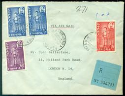 Ethiopia 1963 Registered Airmail Cover To Holland Mi 455 (2), 456 And 458 - Ethiopia