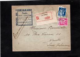 LSC Recommandé 1938 - Entête - HOTEL DE FONTARABIE à FONTENAY LE COMTE - Cachets Sur YT 288 & YT 369 - 1961-....