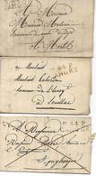 CAHORS Lot 3 Plis Avec P.44.P. CAHORS 1813 / 1818 / 1823 à étudier   ....HH - 1801-1848: Precursores XIX
