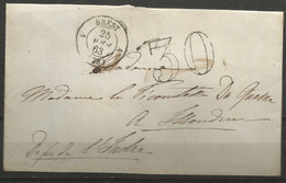 France - Lettre Non Affranchie + Cachet Taxe 30 - LSC Du 25/8/1863 De Brest Vers Issoudun - 1849-1876: Periodo Classico