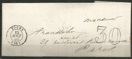 France - Lettre Non Affranchie + Cachet Taxe 30 - LAC Du 12/8/1855 De Tours Vers Paris - 1849-1876: Classic Period