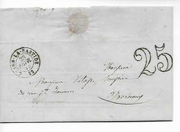 CENON LA BASTIDE Gironde CAD Type 15 + Taxe Tampon 25  1854  ....HH - 1849-1876: Periodo Clásico