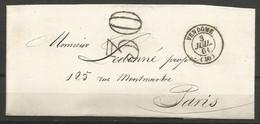 France - Lettre Non Affranchie + Cachet Taxe 30 - LAC Du 3/7/1861 De Vendôme Vers Paris - 1849-1876: Periodo Classico
