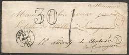 France - Lettre Non Affranchie + Cachet Taxe 30 - LSC Du 29/3/1858 De Et Vers Langres Puis Longeau (cachets Boîte N + CL - 1849-1876: Periodo Classico