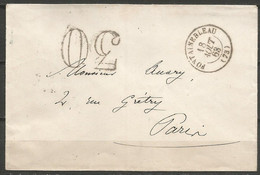 France - Lettre Non Affranchie + Cachet Taxe 30 - LSC Du 18/8/1863 De Fontainebleau Vers Paris - 1849-1876: Classic Period