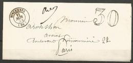 France - Lettre Non Affranchie + Cachet Taxe 30 - LAC Du 11/11/1854 De Vincennes Vers Paris - 1849-1876: Classic Period