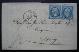 Blamont (Meurthe) 1867 GC 489 Veuve Batelot Taillanderie Et Quincaillerie, Lettre Affranchie Avec Une Paire, Pour Nancy - 1849-1876: Classic Period