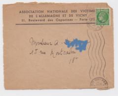 Association Nationale Des Victimes De L'Allemagne Et De Vichy Paris 1945 Timbre Seul Sur Lettre Type Mazelin 80c Vert - Sin Clasificación