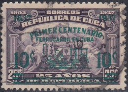 Cuba, Scott #355, Used, Arms Of The Republic Surcharged To Honor Centenary Of Railroads, Issued 1937 - Used Stamps