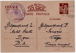 MILITARIA.DIGNE(04) Sur ENTIER IRIS Pour SENONES (88) .CACHET 20 ème BATAILLON De CHASSEURS ALPINS.1941 - Militares