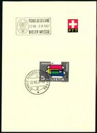328 Mit Sonderstempel A. 774 Foire De Bienne 23.VIII - 2 IX 1957 Bieler Messe - Cartas
