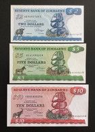 ZIMBABWE SET 2 5 10 DOLLARS BANKNOTES 1983 UNC - Zimbabwe