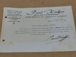 Lettre , Fabrique Paul Kieffer, PLATEN. Station Useldange 1946 - Luxembourg