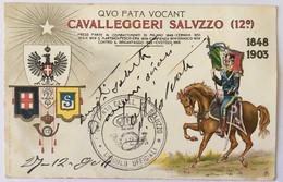 048 CAVALLEGGERI - Cartolina Con Rilievo - Reggimenti Cavalleria Italiana 12 E 13 - Cavalleggeri Saluzzo 12 Reggimento - Régiments