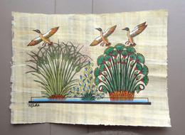 Authentique PAPYRUS égyptien, Peint Main Et Signé - Envol De Canards - Art Oriental