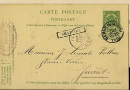 Entier Obl. Namur (Station) Du 20/01/1910 + Griffe De FRANIERE - Linear Postmarks