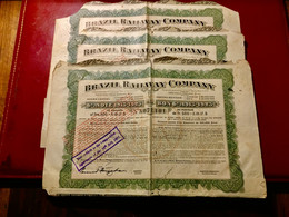 BRAZIL  RAILWAY  COMPANY  ------- Lot  De 3 Bons  6%  1913 - 1923 - Railway & Tramway