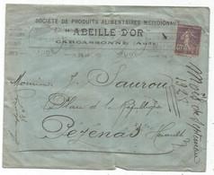 SEMEUSE 40C VIOLET LETTRE PERFORE ME* LETTRE COVER ABEILLE D'OR CARCASSONNE 1928 - Frankrijk