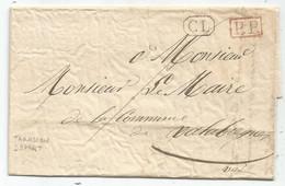 LETTRE DE TARASCON SANS OBLITERATION DEPART + CL NOIR + PP ROUGE 13 AOUT 1839 POUR VALABREGUES VAR - 1801-1848: Precursors XIX