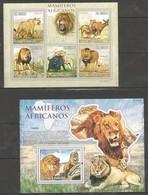 BC806 2010 S.TOME E PRINCIPE MAMIFEROS AFRICANOS WILD ANIMALS LIONS 1KB+1BL MNH - Felini