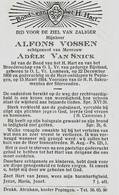 Souvenir Mortuaire VOSSEN Alfons (1866-1954) Geboren Te ONZE-LIEVE-VROUW-LOMBEEK Overleden Te PEPINGEN - Andachtsbilder