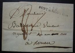 Pont à Mousson 1817 (Meurthe) Marque 52 / PONT-A-MOUSSON 47 X 8 , Pour Rouen - 1801-1848: Precursores XIX