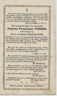 Souvenir Mortuaire VOSSEN Joannes (1801-1883) Geboren En Overleden Te ONZE-LIEVE-VROUW-LOMBEEK - Andachtsbilder
