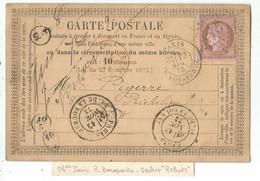CERES 10C CARTE PRECURSEUR ETOILE 15 PARIS R BONAPARTE 12 NOV 1873 POUR PARIS ° REBUTS + CACHETS DE FACTEUR - 1849-1876: Klassik