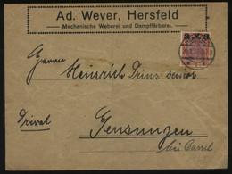 S0492 DR Germania Infla Firmen Brief :gebraucht Hersfeld - Gensungen 1922, Bedarfserhaltung , Gefaltet. - Brieven En Documenten