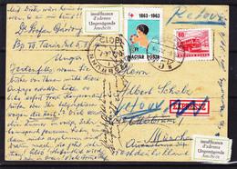 Hongrie - Carte Postale Exprès De 1964 - Oblit Budapest -retour Avec Vignette Insuffisance D'adresse - Cachet Ottobrunn - Hungary