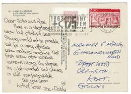 Ref 1411 - 1989 Postcard - Andorra Postcard La Massana 2 Fr Rate To Orpington Kent - Slogan - Französisch Andorra