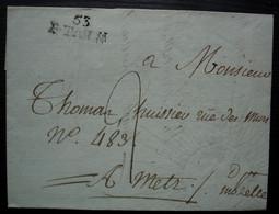 Etain, Meuse Marque 53 / ETAIN 24 X 9  Lettre Avec Filigranne Non Datée Pour Metz - 1801-1848: Precursores XIX