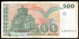 Makedonija,1993,Mazedonien,Macedonia,Macedoine,Pick#13, 500 Denari,as Scan - Macedonia