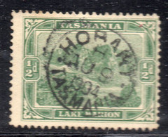 APR3020 - TASMANIA , 1/2 D. Verde Usato (M2200) Fil V Over Crown - Used Stamps