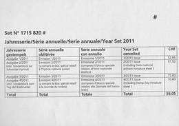 Suisse Schweiz Svizerra Switzerland 2011 : Série Annuelle Oblitérée (autres Années Disponibles Sur Demande) - Gebruikt