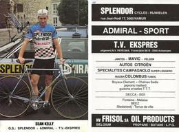 CARTE CYCLISME SEAN KELLY SIGNEE TEAM SPLENDOR 1980 - Cycling