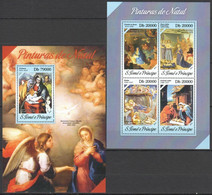 ST1718 2013 S. TOME E PRINCIPE ART PAINTINGS PINTURAS DE NATAL KB+BL MNH - Religious