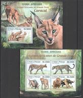 ST1731 2013 S. TOME E PRINCIPE FAUNA AFRICANA WILD CATS ANIMALS CARACAL KB+BL MNH - Felini