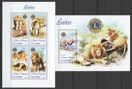 ST1749 2013 S. TOME E PRINCIPE FAUNA WILD ANIMALS LIONS LEVES KB+BL MNH - Felini