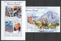 ST1763 2013 S. TOME E PRINCIPE 15TH ANNIVERSARY HAROUN TAZIEFF DINOSAURS KB+BL MNH - Prehistóricos