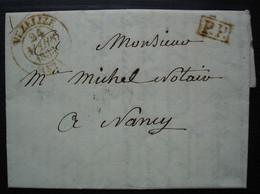 Vézelise Meurthe 1833 Cachet T13 Lettre En Port Payé Pour Nancy - 1801-1848: Precursores XIX