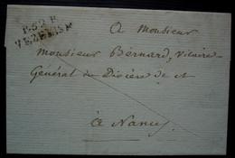Vézelise Meurthe P. 52. P VEZELISE 30 X 10 Lettre En Port Payé Pour Nancy, Sans Date Ni Correspondance - 1801-1848: Precursores XIX
